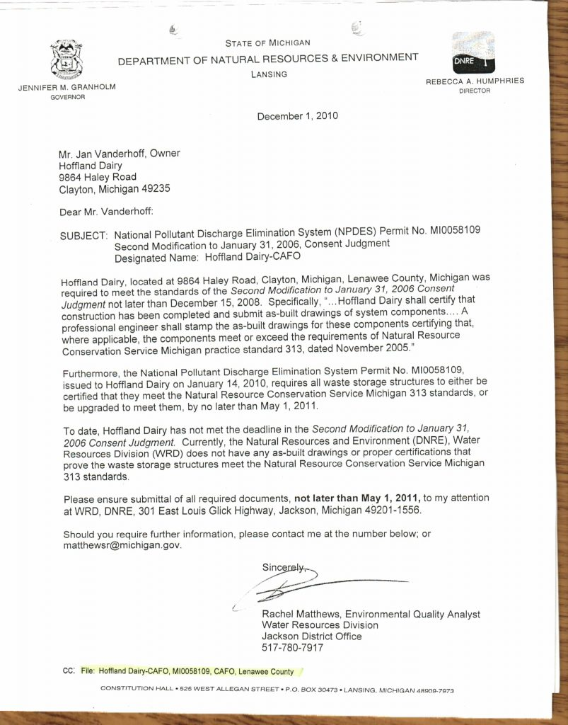 Hoffland Letter failure to meet Consent Order deadline 12.1.10 (1)