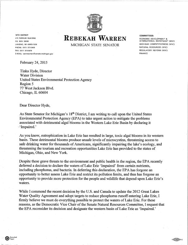 Senator Warren Request to EPA Impaired Lake Erie 2.24.2016 page 1