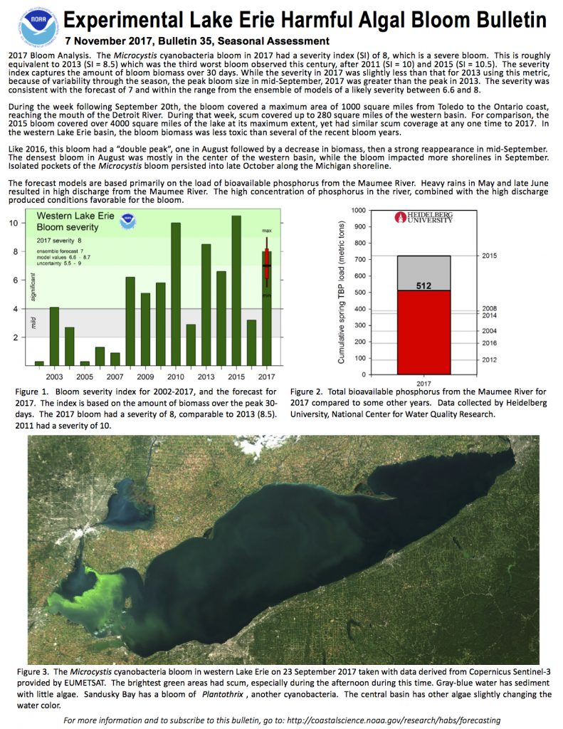 Experimental Lake Erie Harmful Algal Bloom Bulletin 7 November 2017, Bulletin 35, Seasonal Assessment