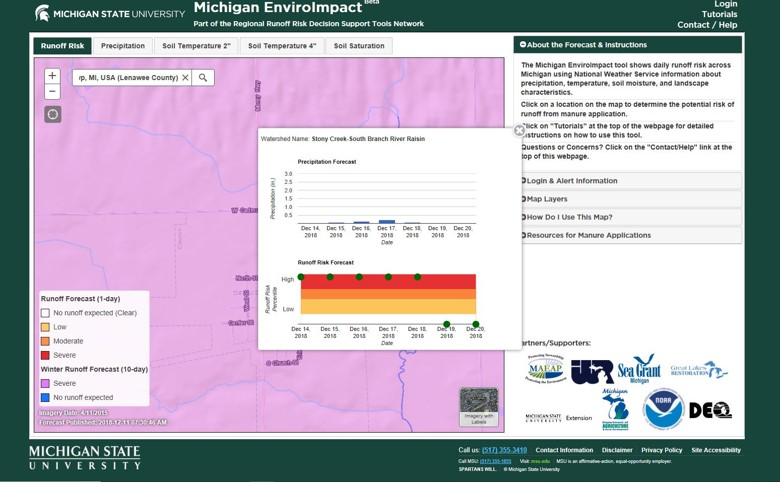 Baker lads MSU Enviroimpact map, Winter Runoff Forecast (10 day) – Severe.