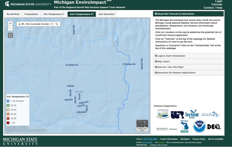 "MSU Enviroimpact map, soil temperature at 4"" depth below 32 deg. F"