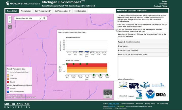 Legend Dairy MSU Enviroimpact Map, Winter Runoff Forecast (10-day) – Severe. 12.17.18