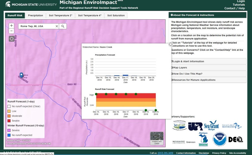 MSU Enviroimpact map showing Winter Runoff Forecast (10 day) = Severe